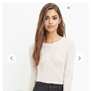 Forever 21 oatmeal heather ribbed top crop top